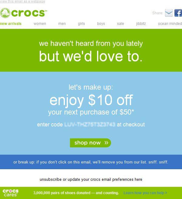 crocs winback email