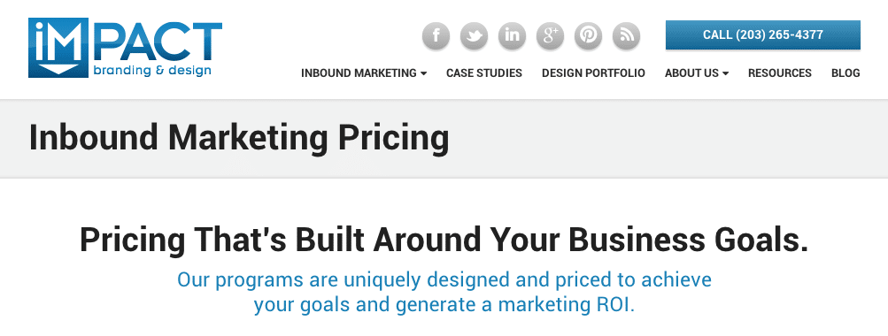 IMPACT pricing page