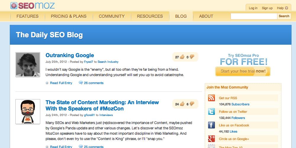 SEOMoz Inbound Marketing Blog