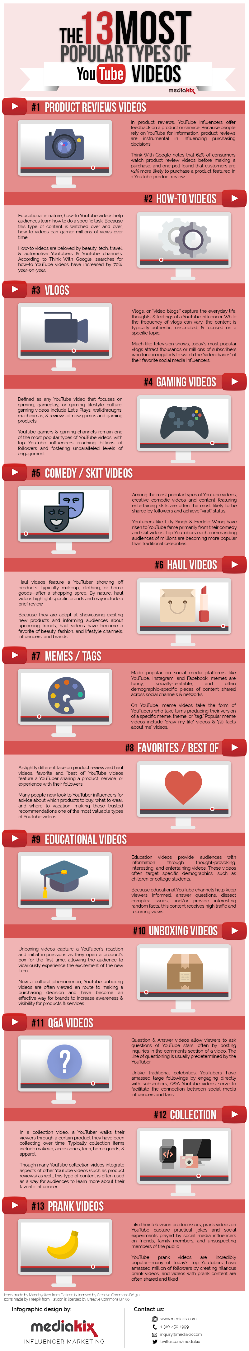 13 Types of Youtube Videos Ranked (infographic) 1