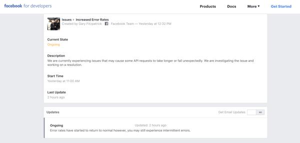 Facebook for developers updates
