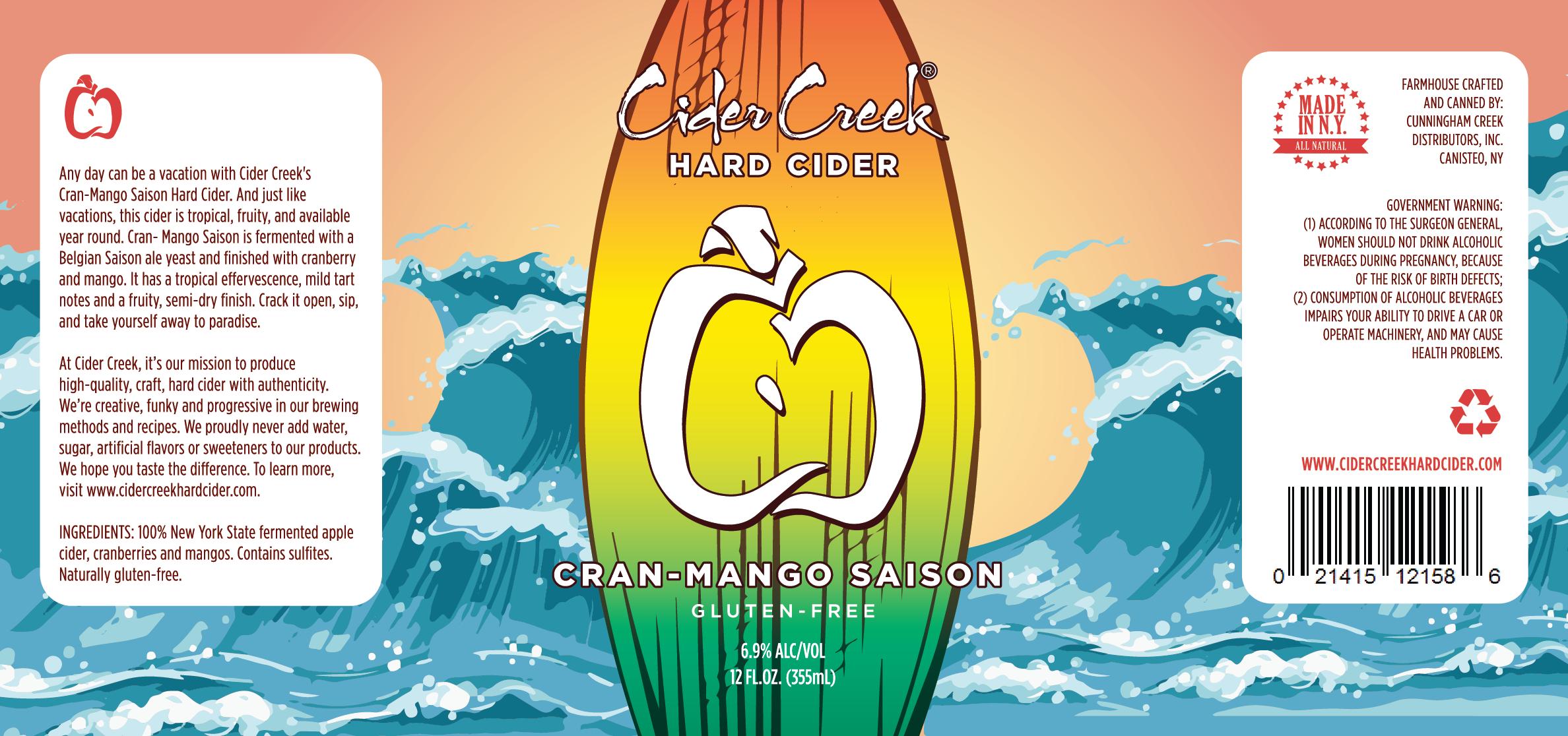 Cider Creek Hard Cider Cran Mango Saison Label