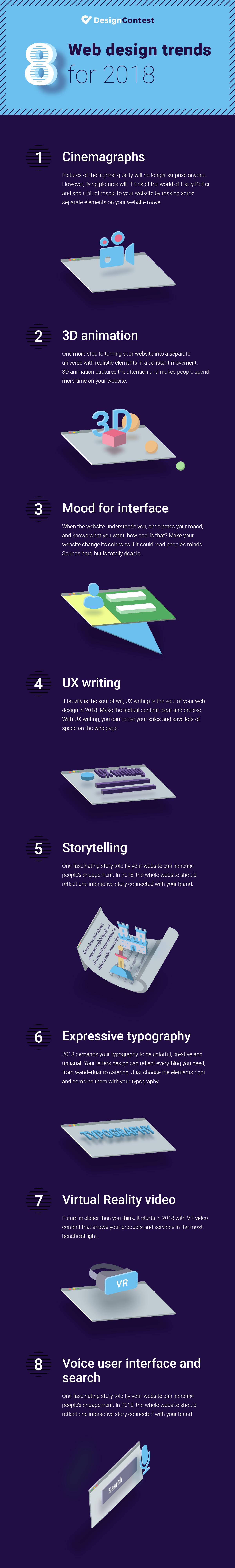 DesignContest 2018 Web Design Trends Infographic