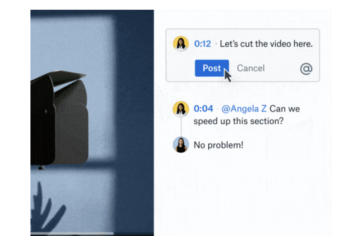 Dropbox time-based commenting video example