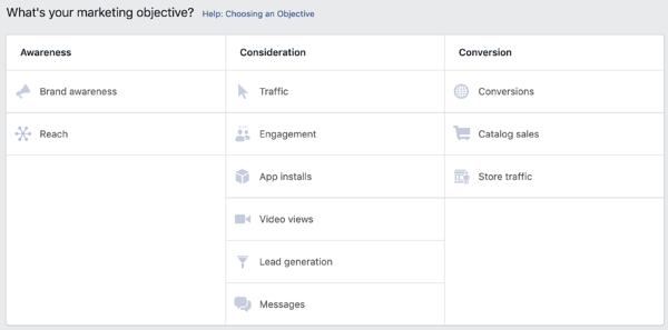 FB ads objective