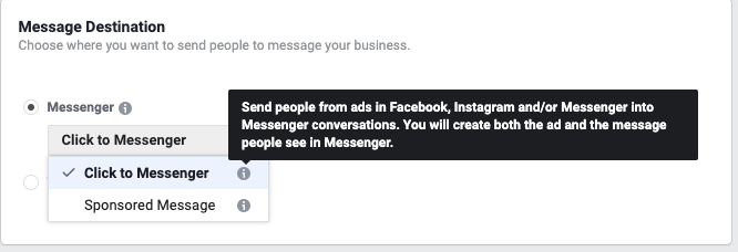 Facebook Ads Messenger - Message Destination