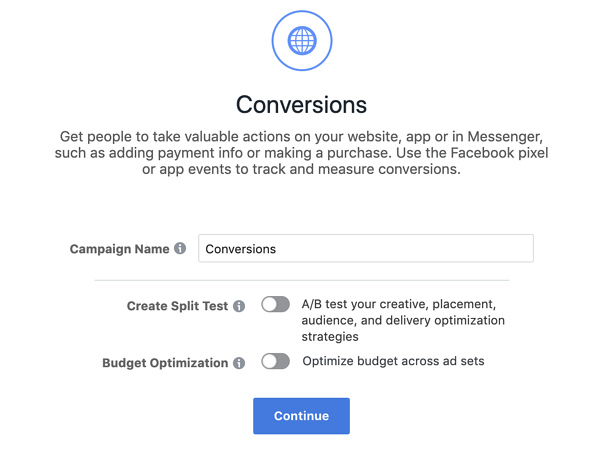 Facebook Objective Option - Conversions