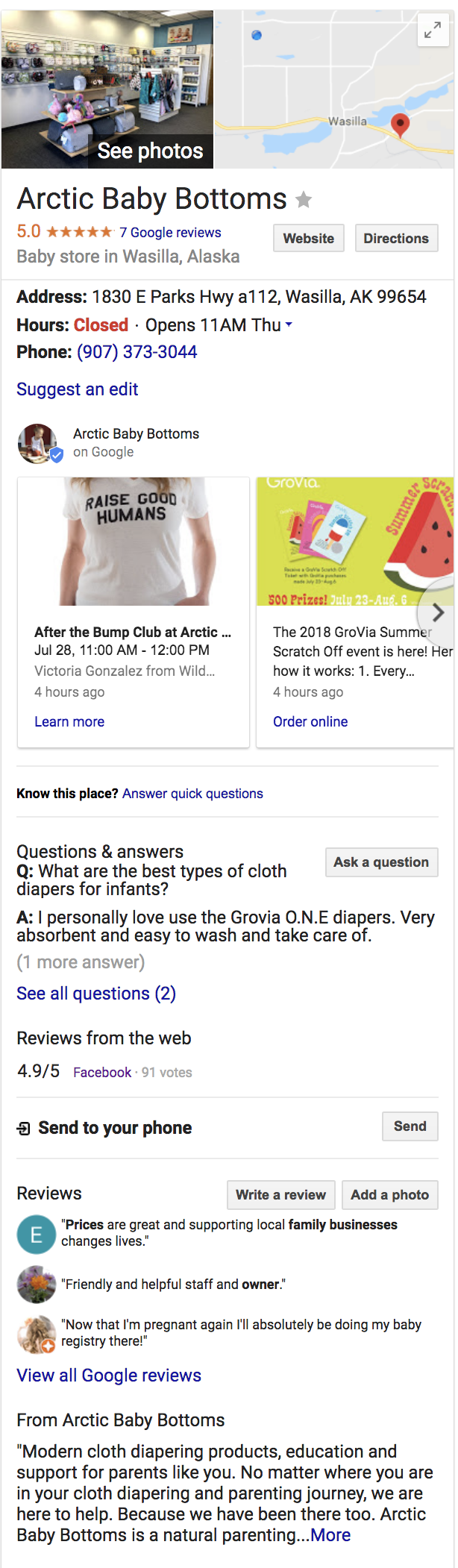 Google My Business Examples (Arctic Baby Bottoms)