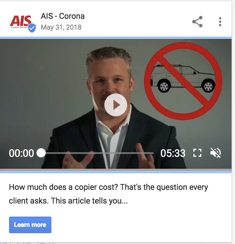 Google My Business Video Post Example (AIS)