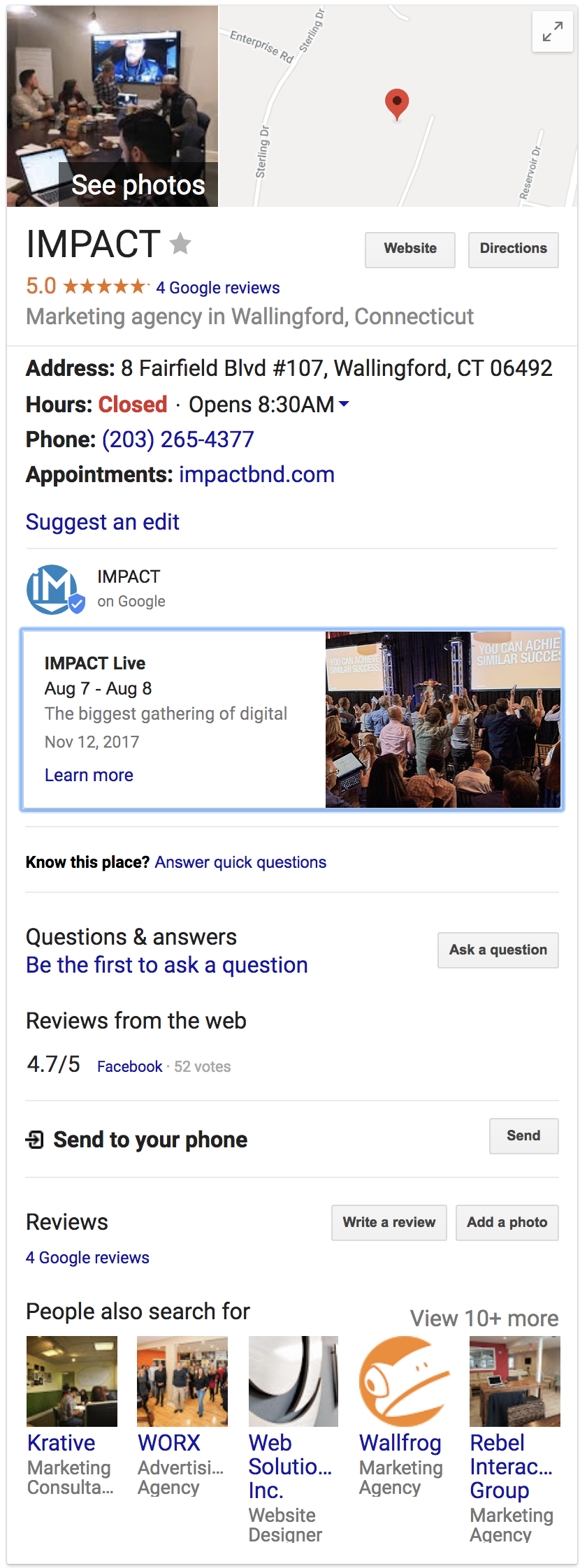 Google My Business Post in Knowledge Panel Example (IMPACT)