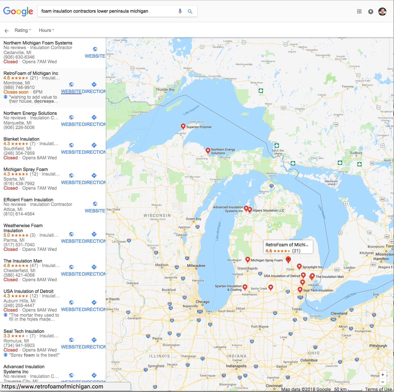 Google My Business Map Example (Retrofoam of Michigan)