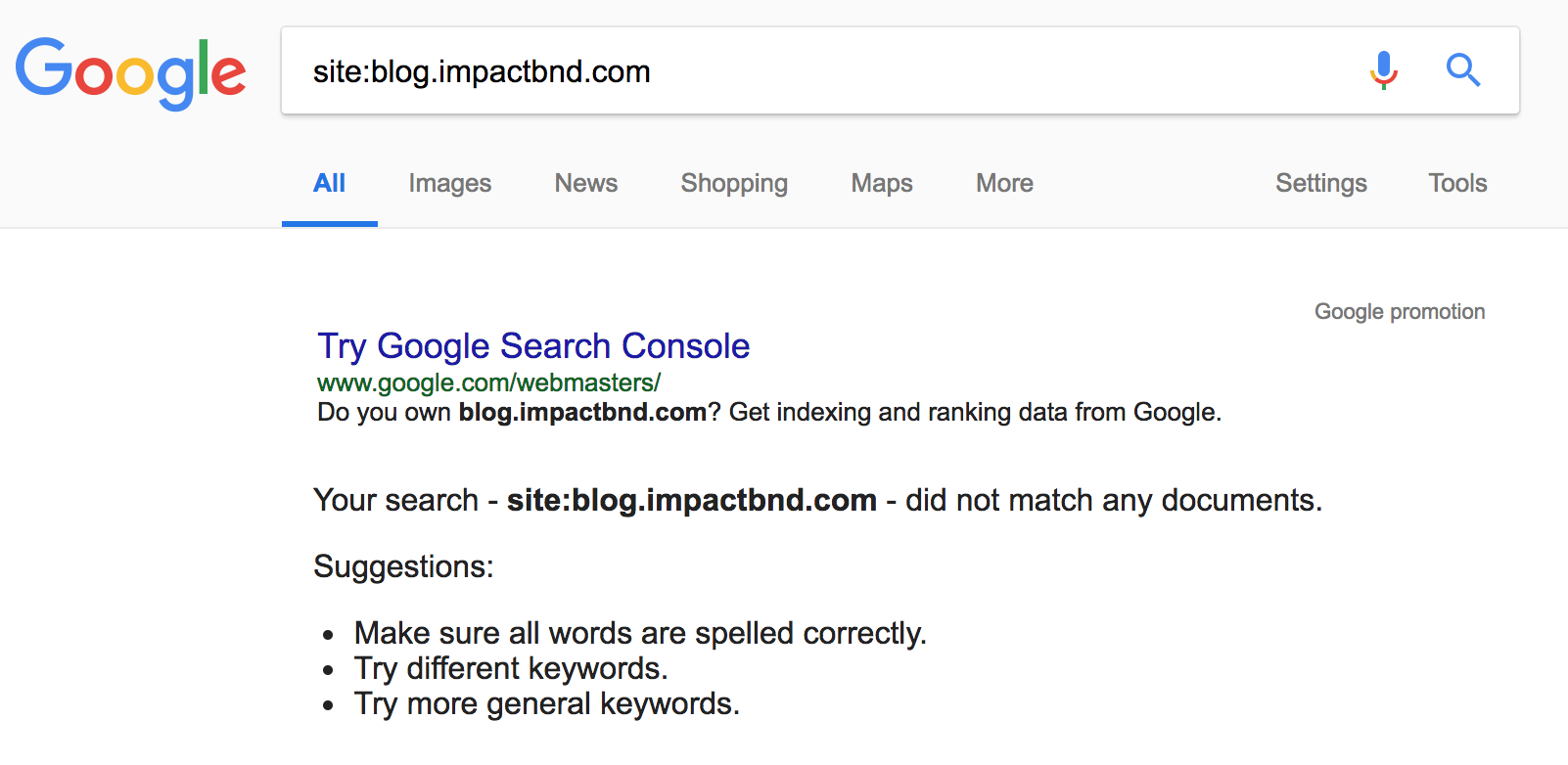Google Site Search IMPACT Subdomain