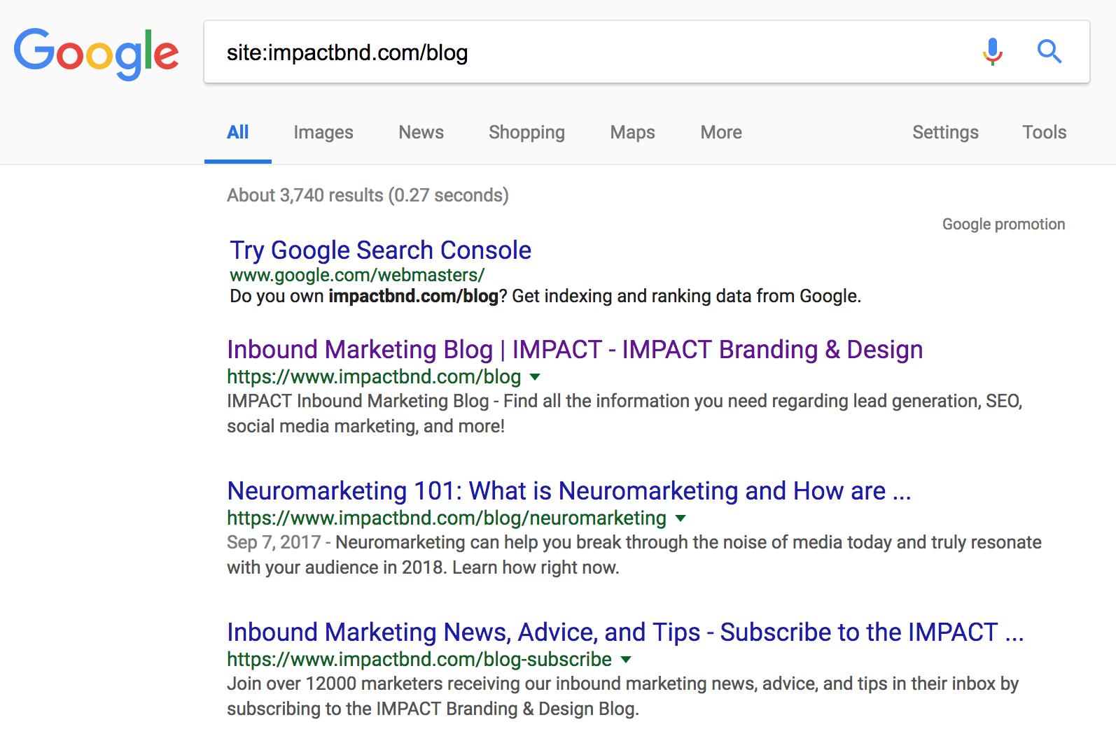 Google Site Search IMPACT Subfolder