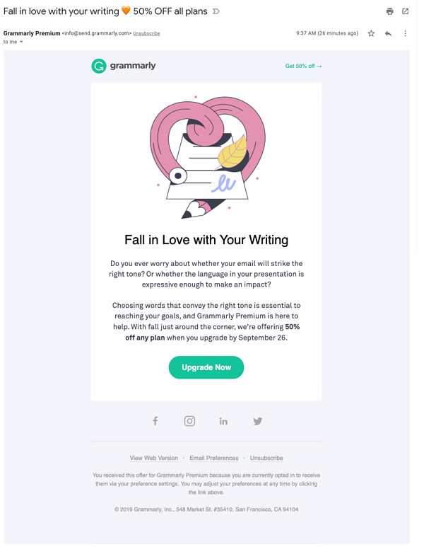 Grammarly email marketing