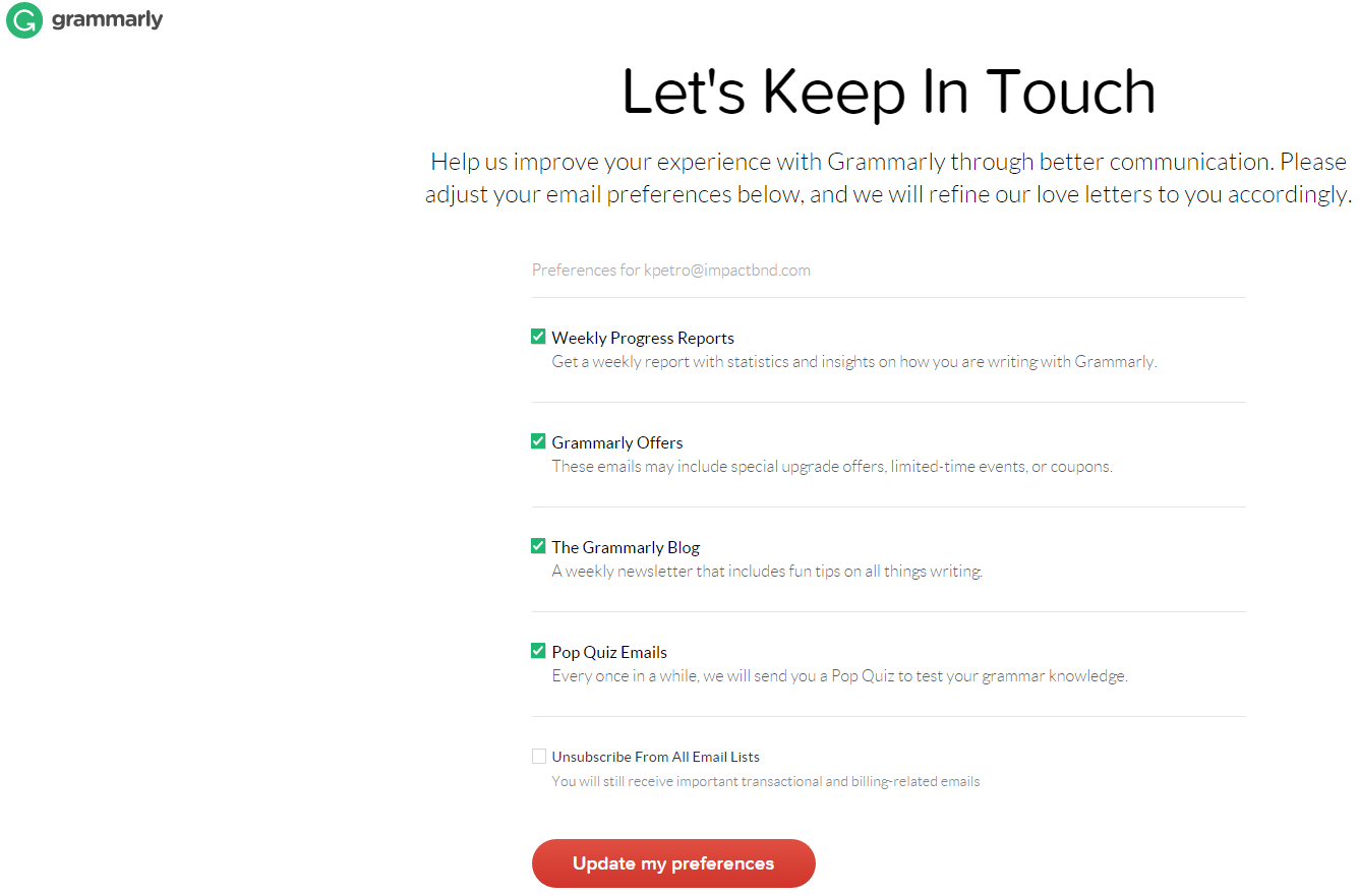 Grammarly-Unsubscribe-Page