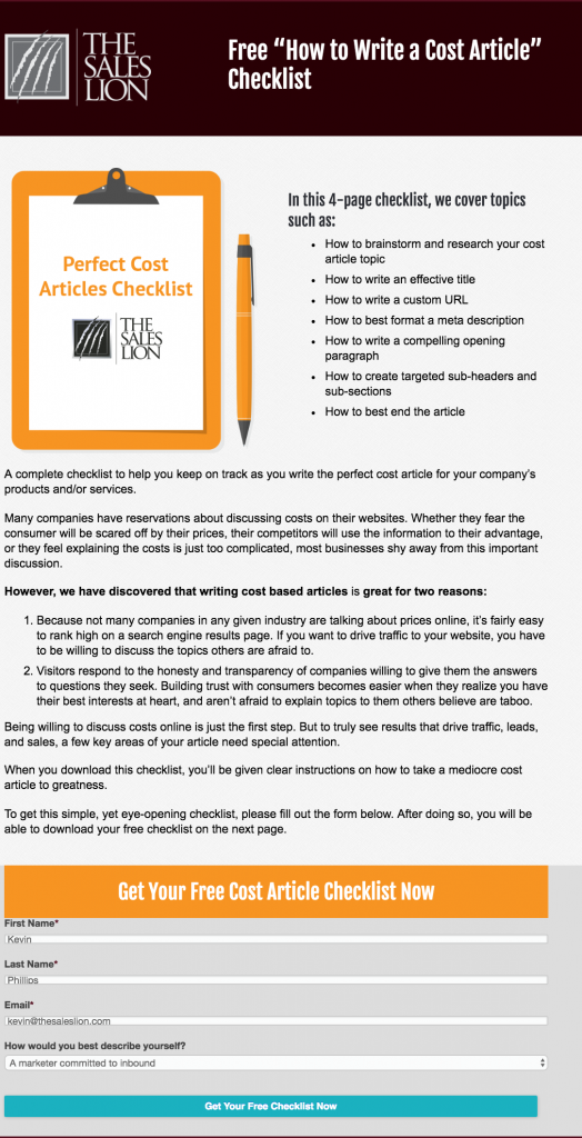 example of a checklist awareness stage offer