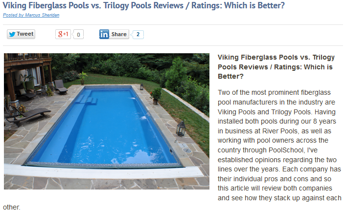 At River Pools, we didn't ask permission to write about other companies...we just did.