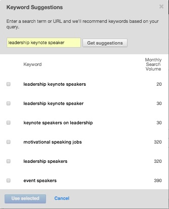 hubspot keyword tool suggestions