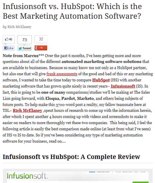 Infuionsoft vs HubSpot article