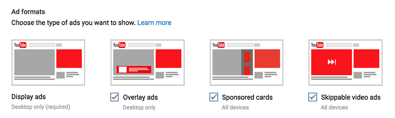 Types of ads that you can enable