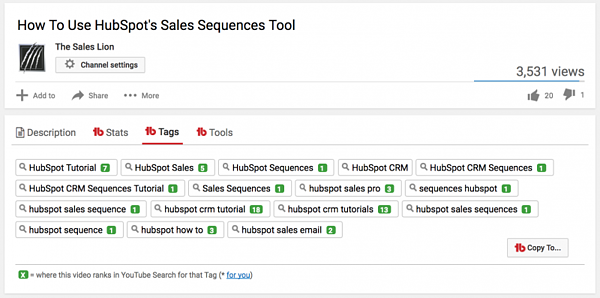 Where to find tag ranking on YouTube