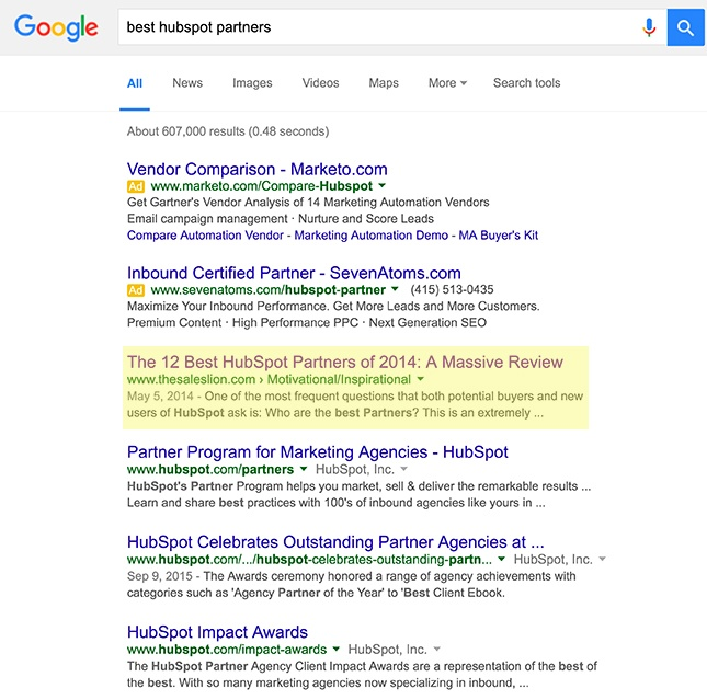 best hubspot partners serp