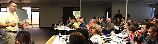 "A photo taken at the first true ""content marketing workshop"" I ever gave to the great folks of Block Imaging."