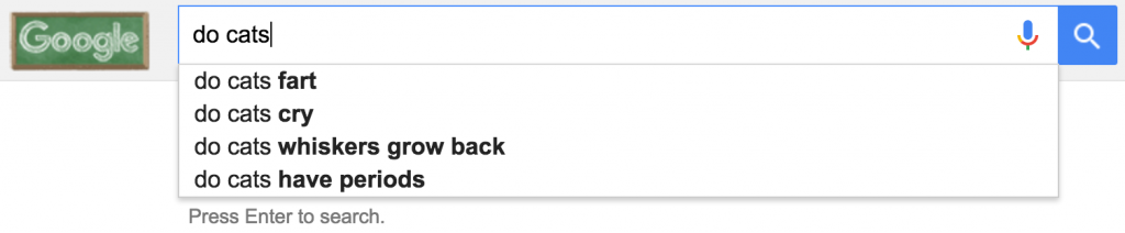 """google autocomplete for """"do cats"""""""