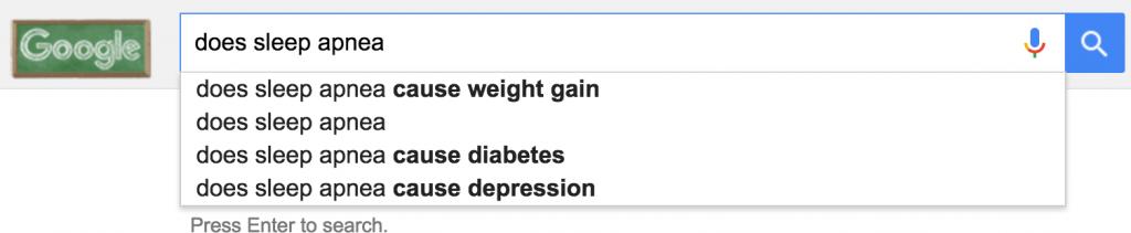 "google autocomplete for ""does sleep apnea"""