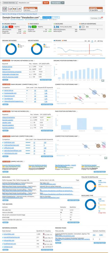 SEMrush domain overview analytics