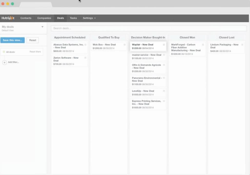 HubSpot CRM deals dashboard