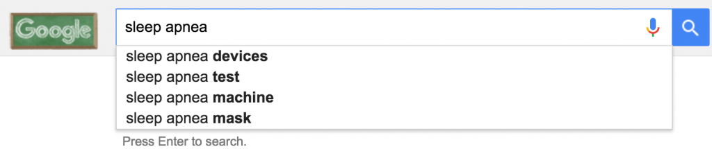 """google autocomplete for """"sleep apnea"""""""