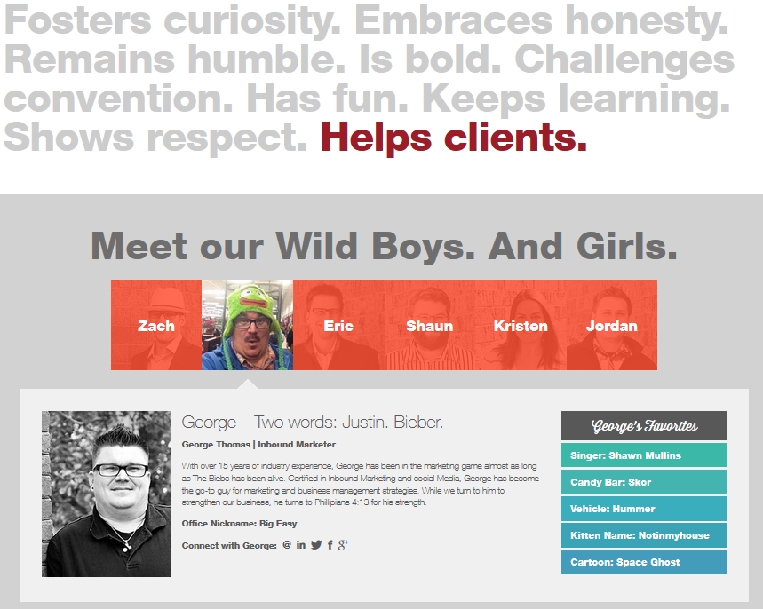 I'm a big fan of the folks at Wild Boy Design. Their website, and their About page, exudes their exceptional personality and marketing zeal-- and tells a story in the process.