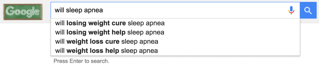 "google autocomplete for ""will sleep apnea"""