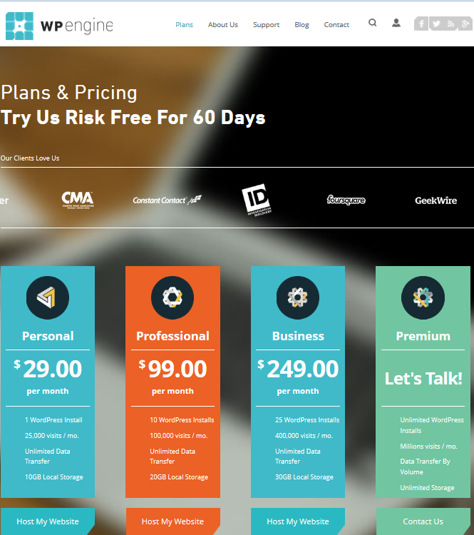 Whether you put your actual prices or not on your website is up to you, but no matter what, the subject must be addressed. In this photo, we see a snippet of the great pricing page from WPEngine.