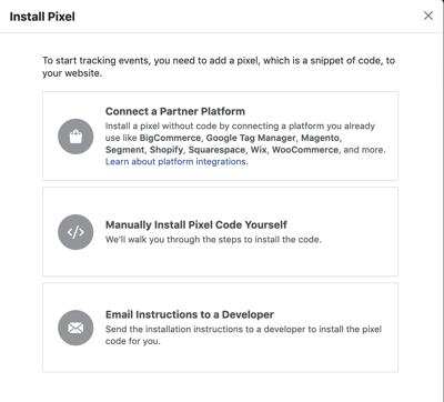 Install Facebook Pixel Options