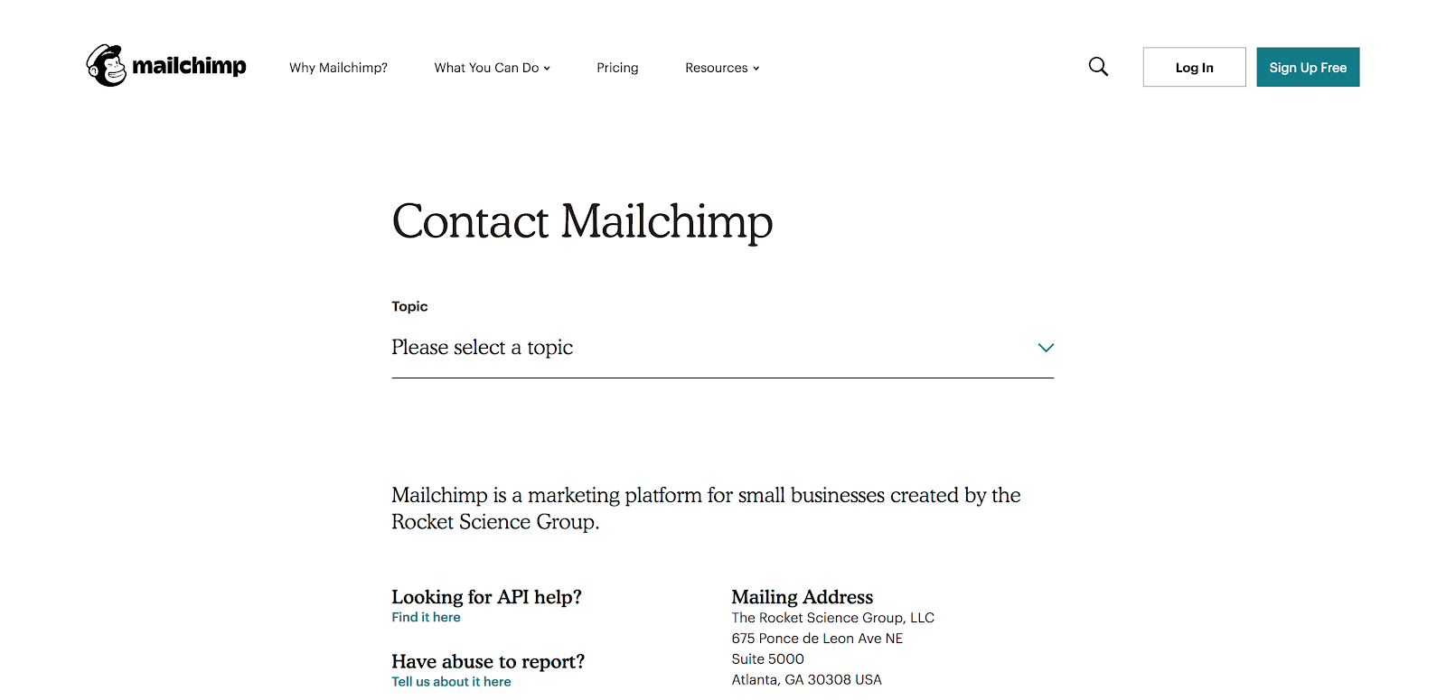Mailchimp Contact Us