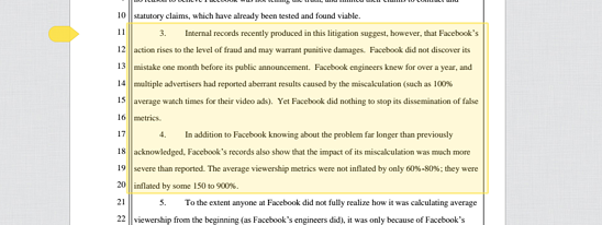 Facebook Fraud Claim