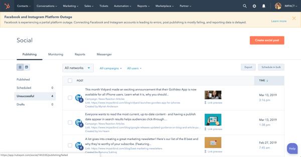 hubspot social publisher