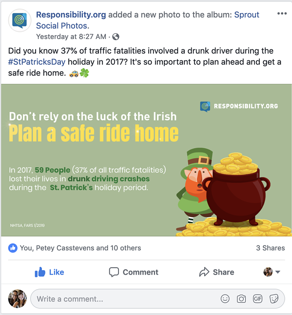 FAAR facebook post st patrick's day