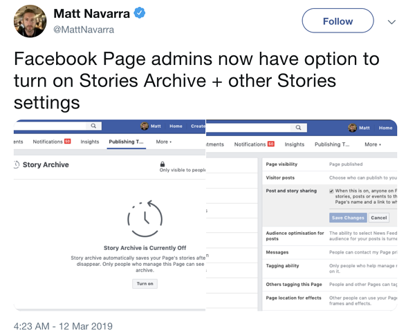 Company Pages Can Now Share & Archive Facebook Stories