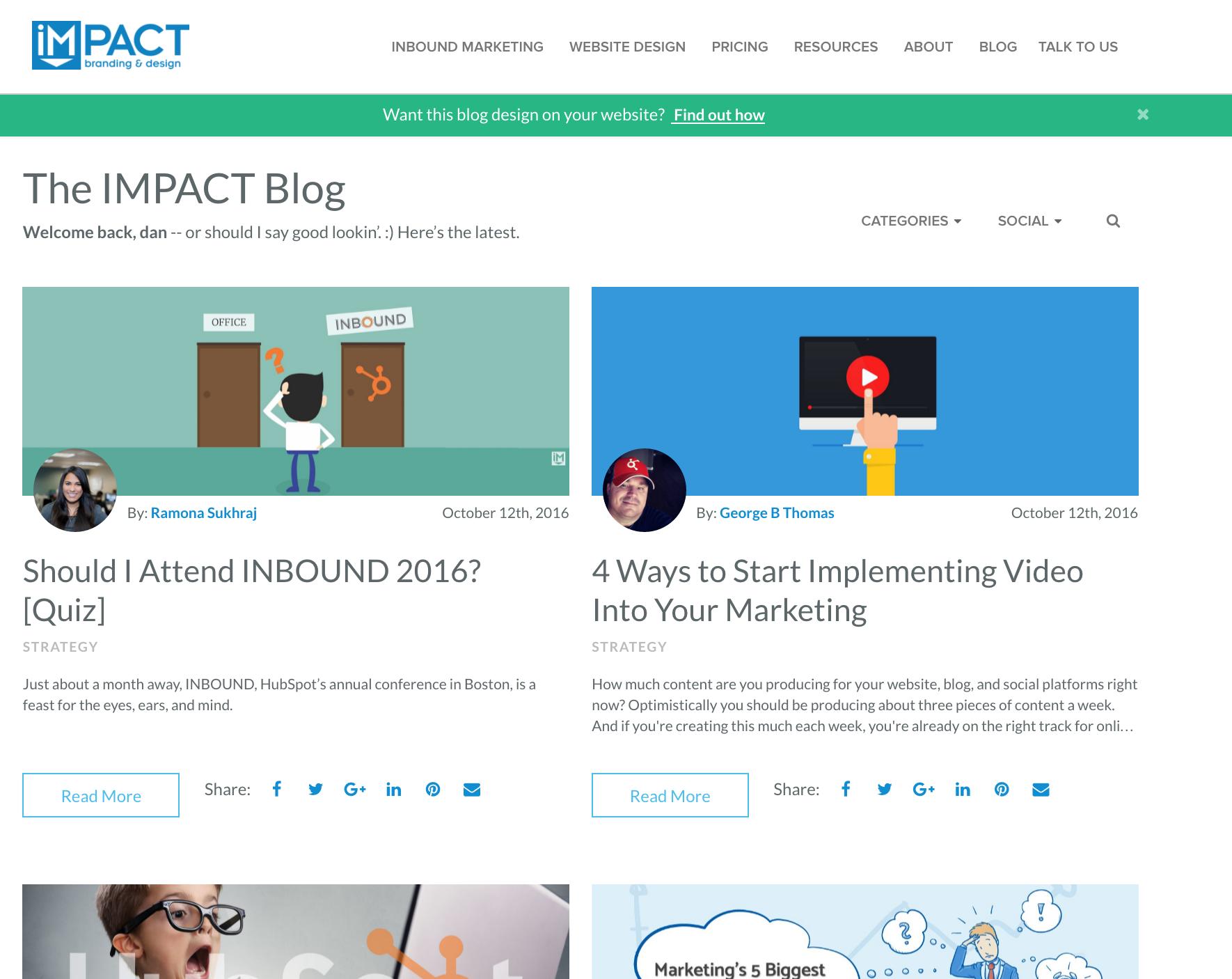 IMPACT Branding and Design inbound marketing blogs