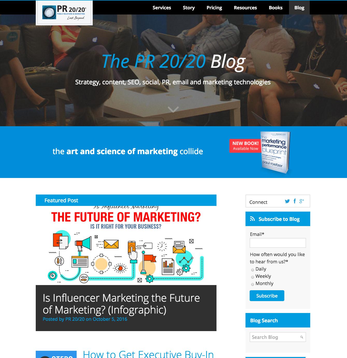 PR 20/20 inbound marketing blogs