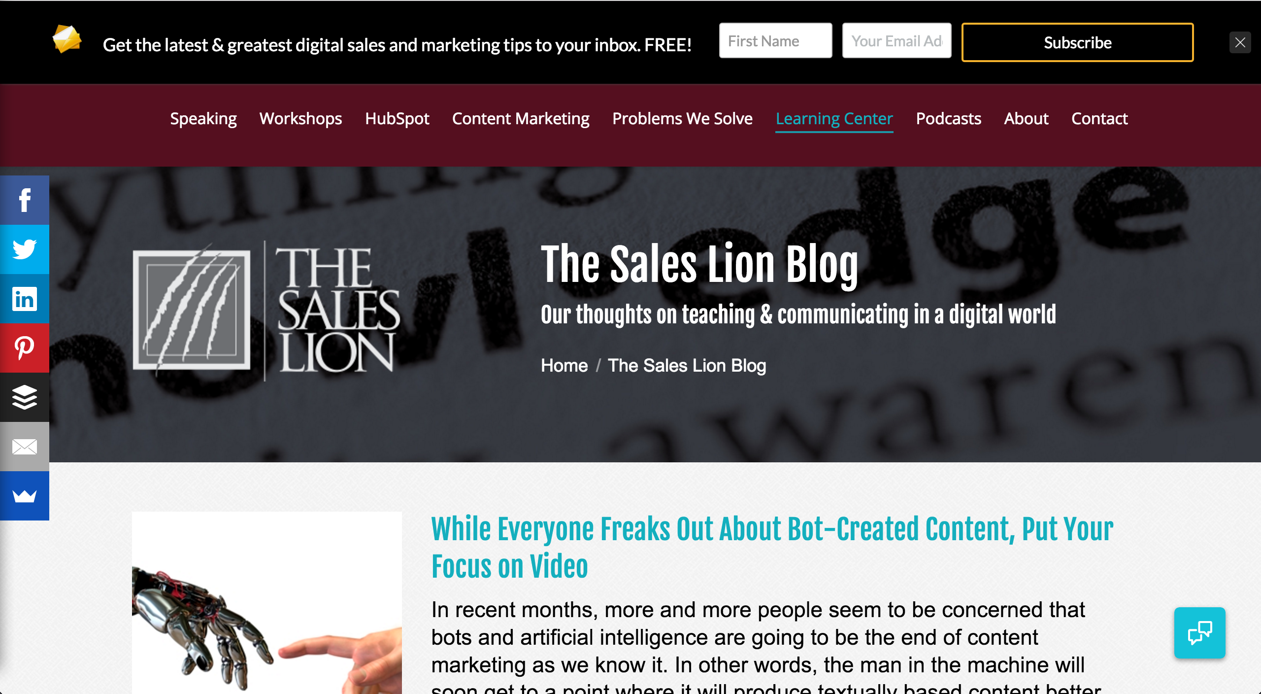 The Sales Lion inbound marketing blogs