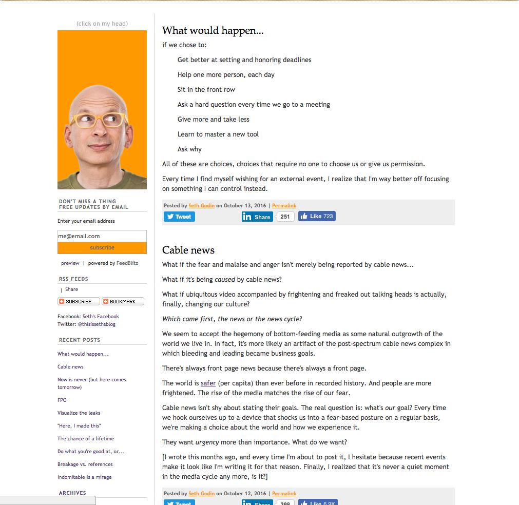 Seth Godin inbound marketing blogs