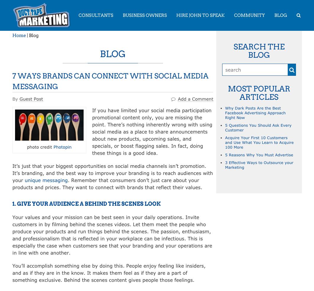 Duct Tape Marketing inbound marketing blogs