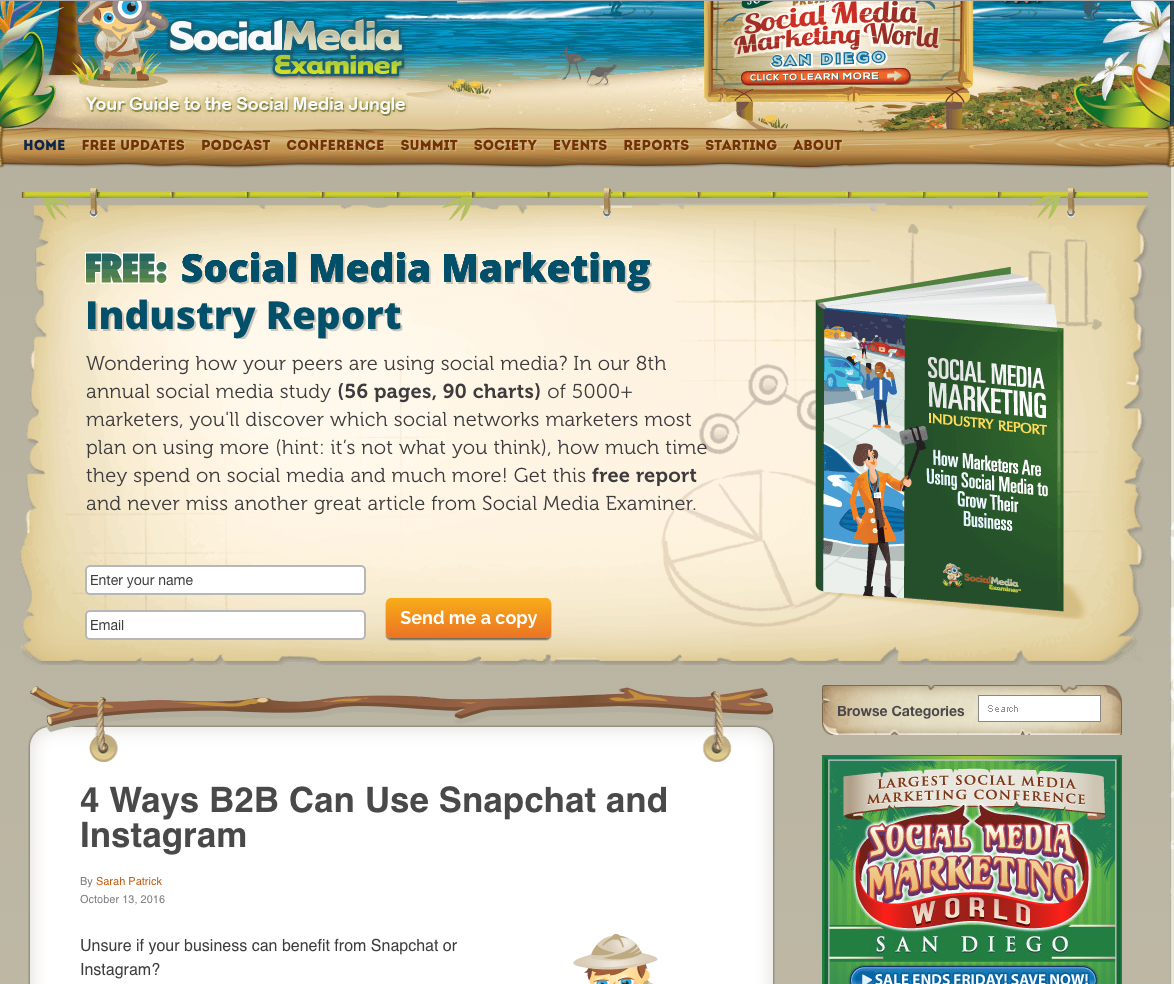 Social Media Examiner inbound marketing blogs