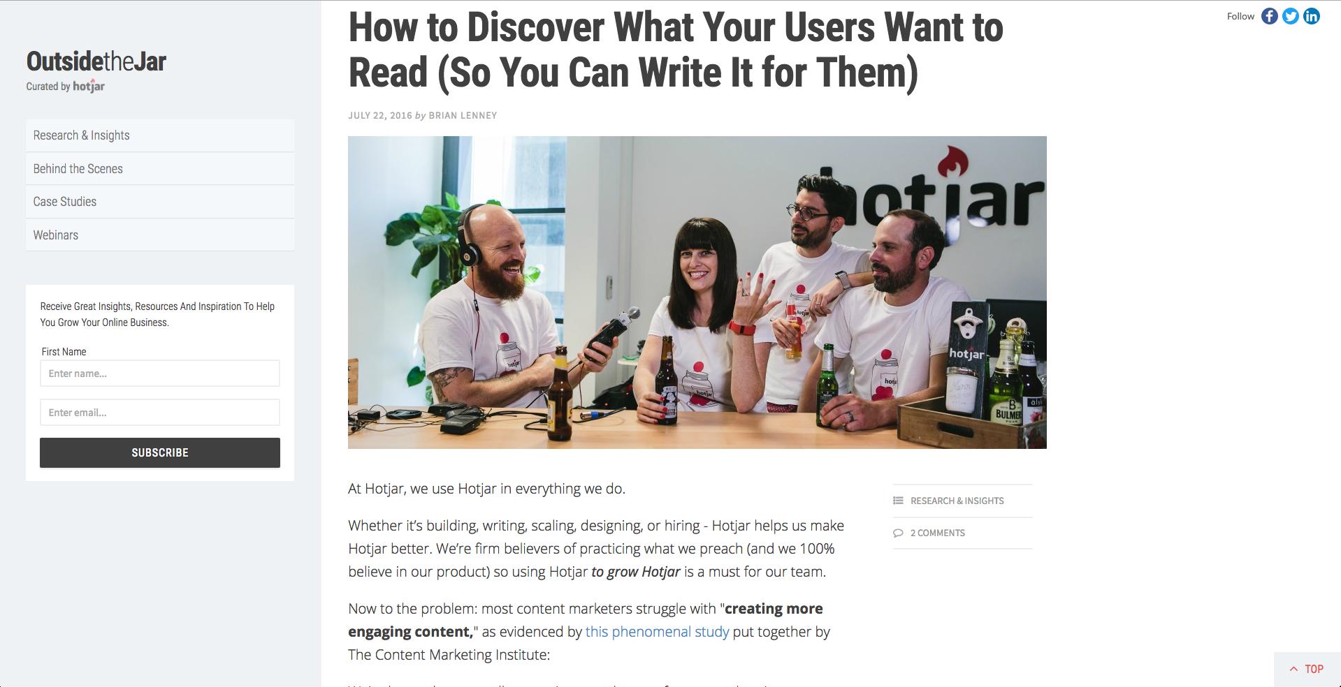 Hot Jar inbound marketing blogs