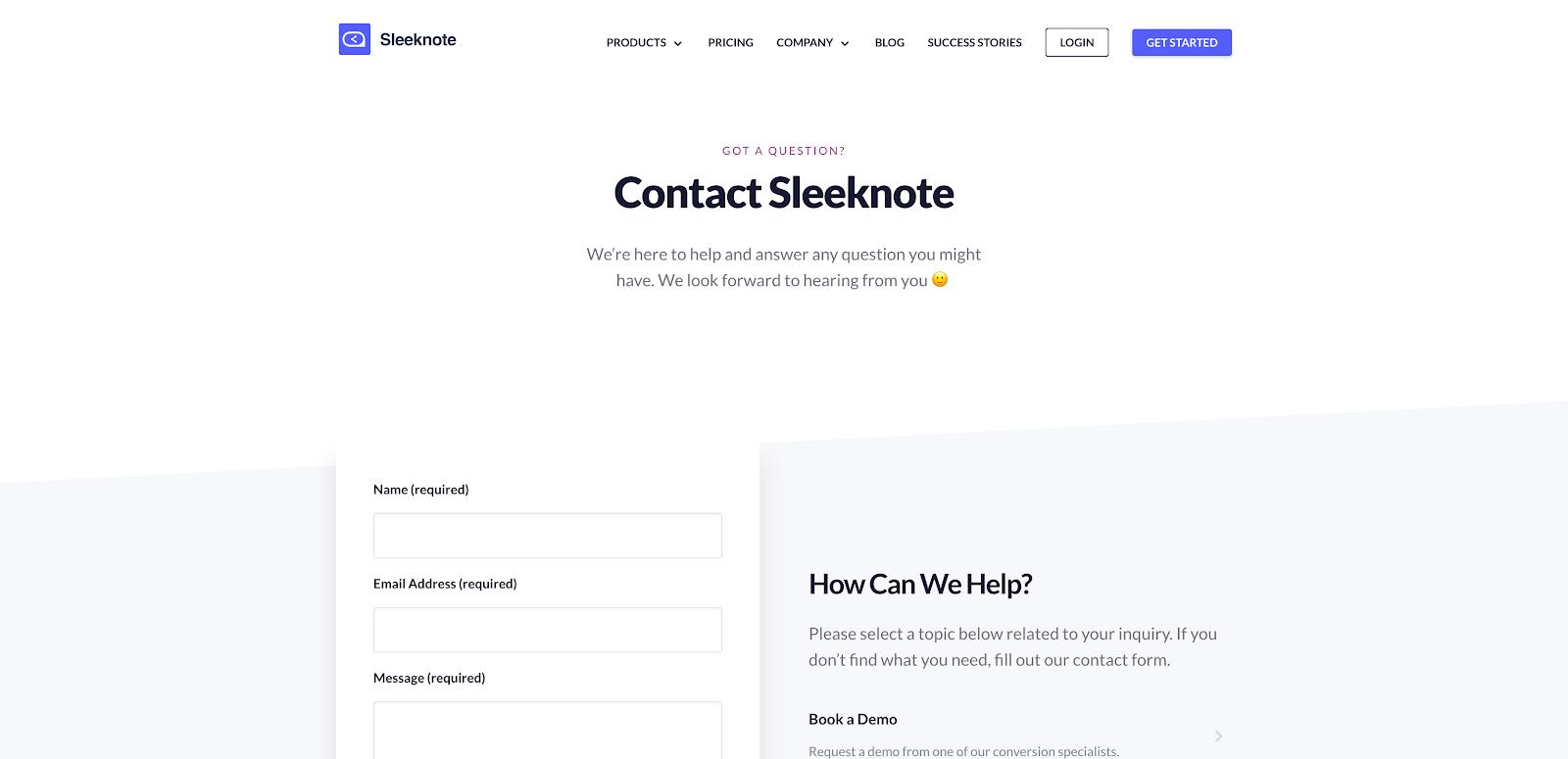 Sleeknote Contact Us