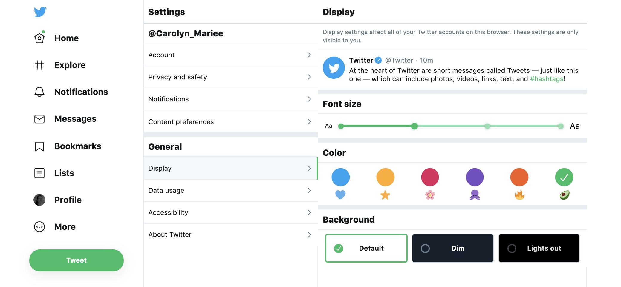 Twitter customization